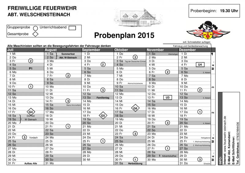 Probenplan 2015–2